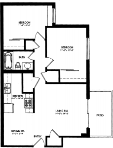 2 Bed / 1 Bath / 790 sq ft / Deposit: $550 / Rent: $715